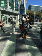 Mech knight and Tauren ETC cosplay outside
