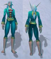 Festive Teal Pant Suit, Snow Background, NE Female