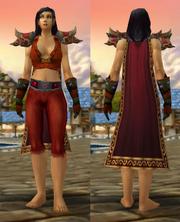 Crimson Silk Set with Vest