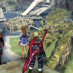 Reyn, Shulk and Fiora looking at Colony 9