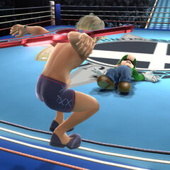 Shulk's armourless appearance on the Boxing Ring stage.