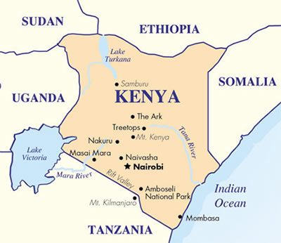 Kenya on a map