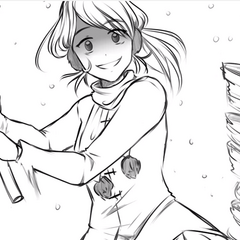 Kokona about to be hit by a rusty pipe.