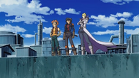 Yusei, Jack and Crow stand at the Daedalus Bridge