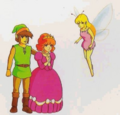 Zelda II - The Adventure of Link Artwork Link, Zelda, and Fairy Spell (Concept Art).png