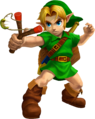 Ocarina of Time 3D Artwork Young Link wielding the Fairy Slingshot (Official Artwork).png