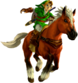 Ocarina of Time 3D Artwork Adult Link riding Epona (Official Artwork).png