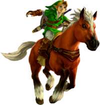 Ocarina of Time 3D Artwork Adult Link riding Epona (Official Artwork)