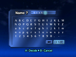 Name Registration (Ocarina of Time)