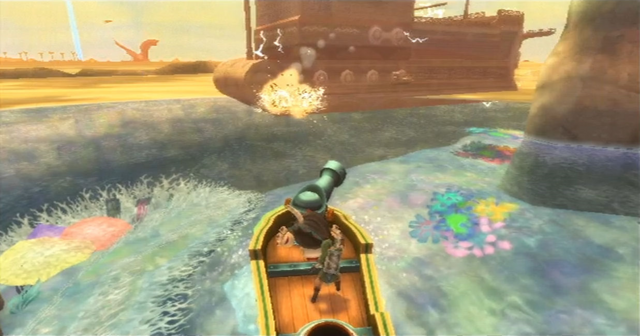 File:Skyward Sword Skipper's Motorboat Attacking the Sandship.png