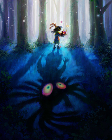File:Majora's Mask 3D Artwork Skull Kid after stealing Majora's Mask (Official Artwork).png