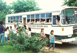 Philippine refugee processing center bus