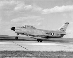 F-86L Wyoming ANG taking off c1959