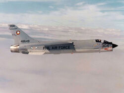 F-8H Crusader of the Philippine Air Force in flight c1978