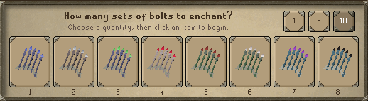Enchanting crossbow bolts