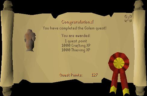 The Golem reward scroll