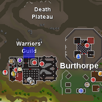 Hot cold clue - north of Warriors Guild map