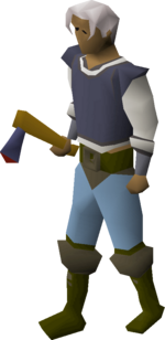 Mithril axe equipped