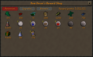 Dom Onion's Reward Shop stock