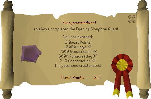 The Eyes of Glouphrie reward scroll