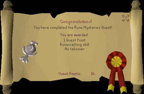 Rune Mysteries reward scroll