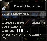Fine Wolf Tooth Saber