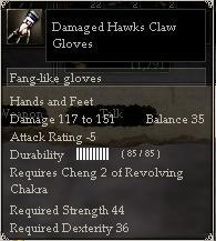 Damaged Hawks Claw Gloves
