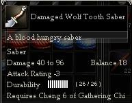 Damaged Wolf Tooth Saber