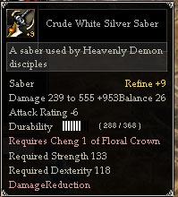 Crude White Silver Saber