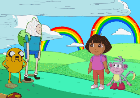 File:Adventure Time and Dora The Explorer Crossover.png