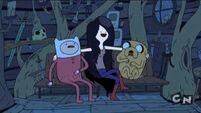 From left to right, Finn, Marceline, Jake