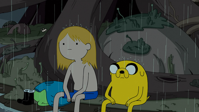 File:S4e23 Finn and Jake sitting in the rain 2.png