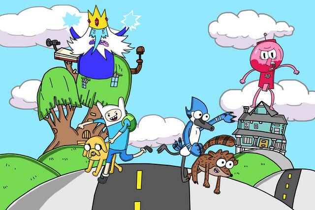 File:Adventure time and regular show desktop wallpaper by bubblytee-d5dtkpn.jpg