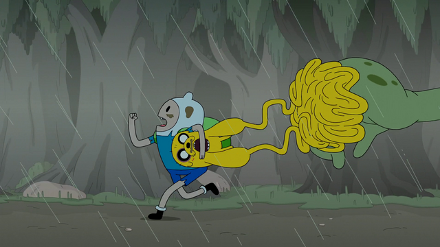 File:S4e23 Finn and Jake running from Mega Frog.png