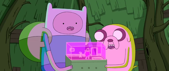 File:S3e25 Finn and Jake with holo-message player.png