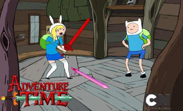 File:Finn shows Fionna his cool sword..jpg