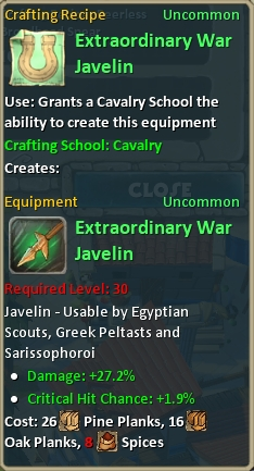 Craft extraordinary war javelin