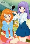 Sumire brushing Akari's hair