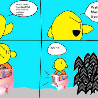 Yellow Kirby having maxed out his boost in City Trial.