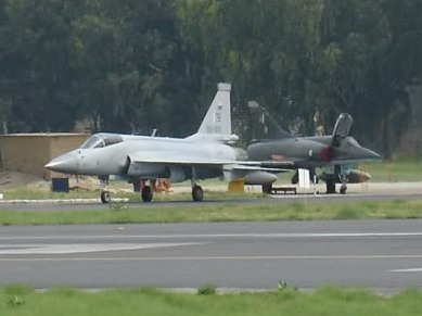 File:One JF-17 in front of two parked Mirage 5 cropped version-1-.jpg