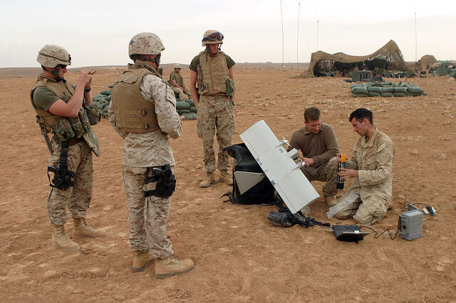 File:800px-US Navy 041108-M-5882G-071 U.S. Marines assigned to Alpha Company, 1st Battalion, 7th Marines, prepare to launch a Dradoneye Small Unit Remote Scouting System, outside the village of Al Qaim, Iraq.jpg