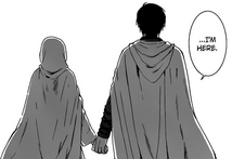 Hak Holds Yona's Hand