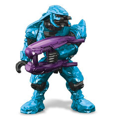 A typical Sangheili as they appear in the MEGA BLOKS sets. (Cyan coloured Sangheili wielding a purple Plasma Rifle)