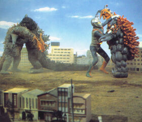 Godzilla and Zone Fighter take on Wargilgar and Splyer.