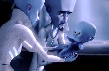 Megamind's parents preparing to place their son into an escape pod