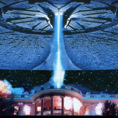 A flying saucer being used to destroy the White House.