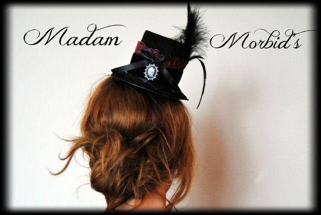File:Madam Morbid Gothic Victorian Real Crow Skull Lace Mini Top Hat 2.JPG