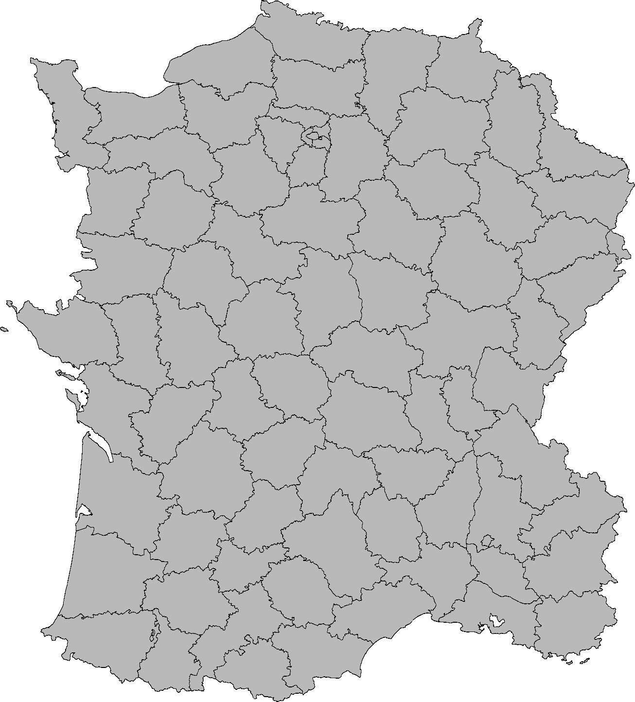 Image Blank Map Of France With Departments Imperial Machines - France map images blank