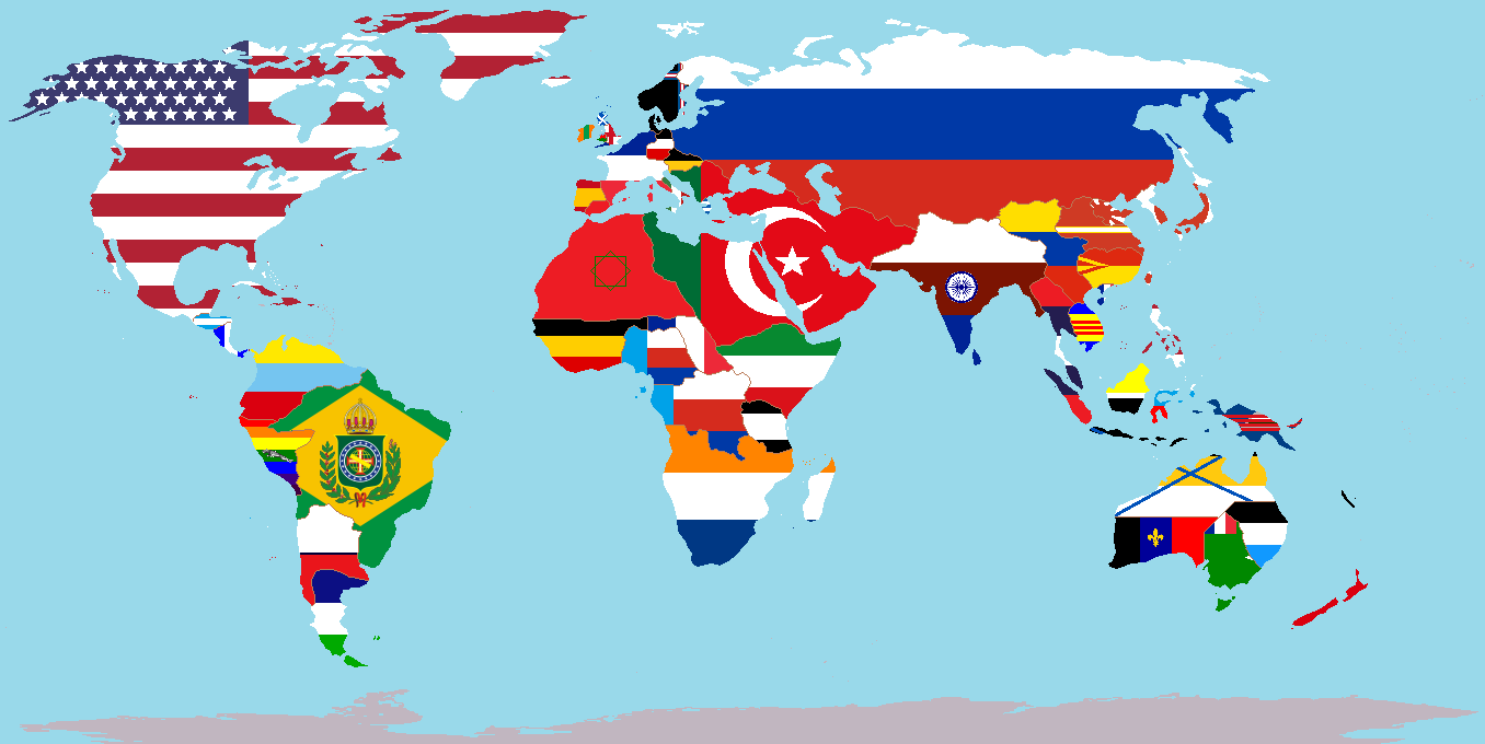 Image World Political Map With Nations Overlaid On Their Flags - World political map 2014