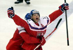 Jágr celebrates goal quarterfinal 2016 IIHF WHC (WFAC)